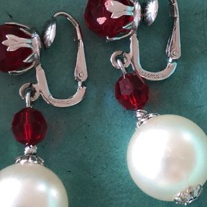 Signed Sherman Red and White Earrings